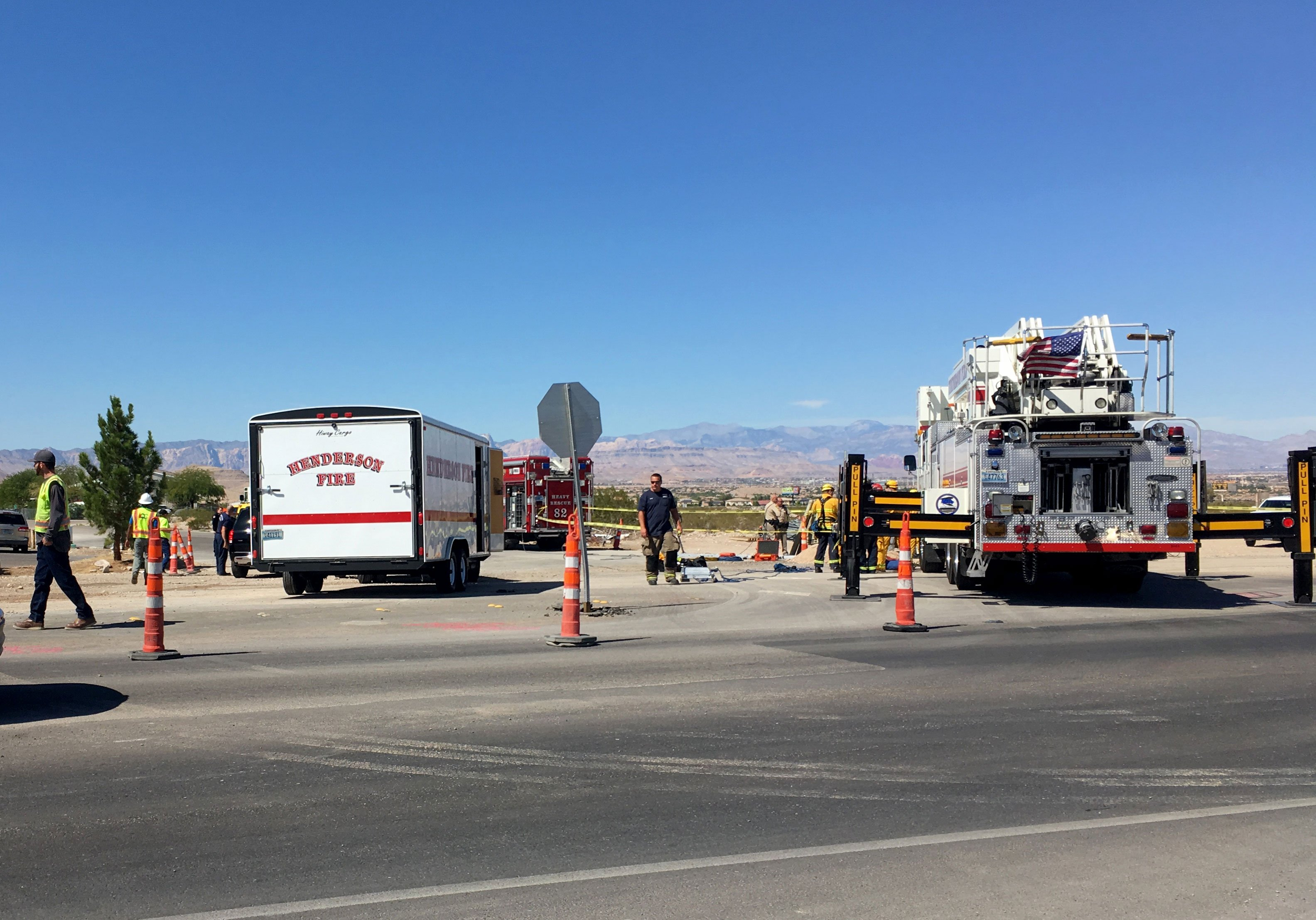 Authorities respond to the scene of a construction accident on Sept. 25, 2017. (Kurt Rempe/FOX5)