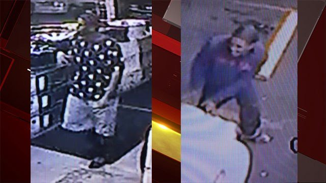 Surveillance video stills show two of the robbery suspects moments before the robbery (LVMPD).