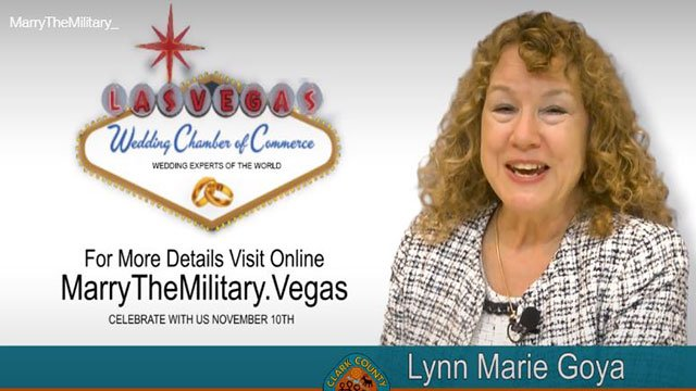 A Clark County Clerk happily announces the 'Marry the Military' contest (LVWCC).
