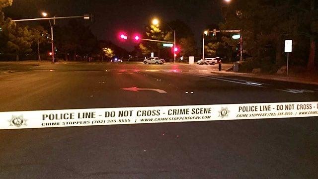 Police block roads due to fatal crash near Lakes area in Las Vegas on Sept. 27, 2017. (Luis Marquez/FOX5)
