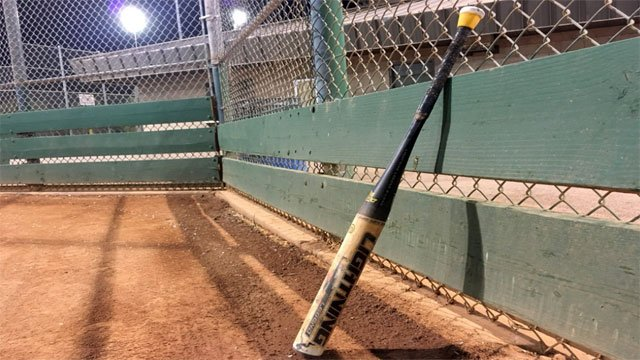 A softball bat placed beside a fence on Sept. 27, 2017, (Mike Doria/FOX5)