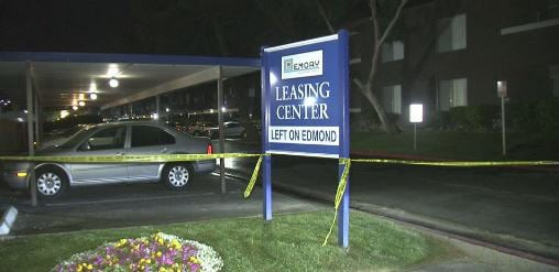 Crime tape is shown at a homicide scene in apartment complex in central Las Vegas. (Luis Marquez/FOX5)
