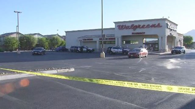 Metro at the scene of an armed robbery at an east Las Vegas Walgreens on Spet. 28, 2017. (Isaac Torres/FOX5)