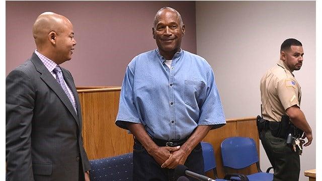 O.J. Simpson appears during his parole hearing. (Jason Bean)