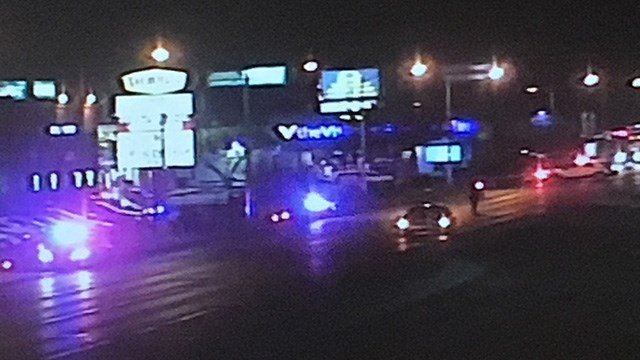 A pedestrian was hit by a vehicle, suffering critical injuries near Nellis and Stewart Friday.