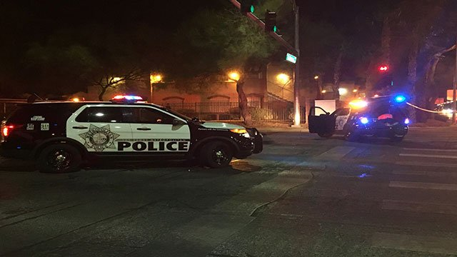 Metro police vehicles block the streets as officers investigate a fatal crash in east Las Vegas on Sept. 30, 2017. (Kurt Rempe/FOX5)