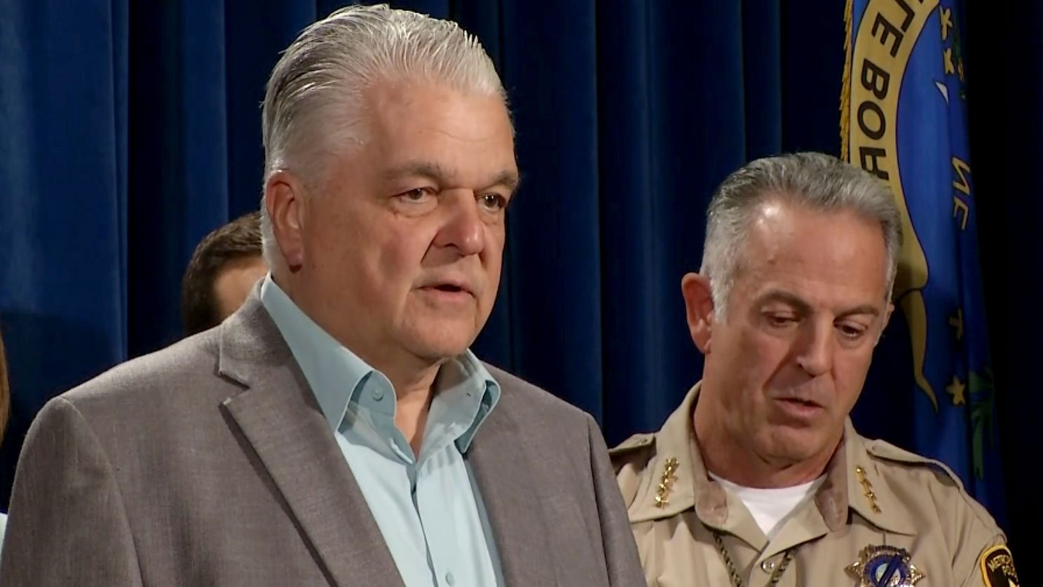 Steve Sisolak speaks during a press conference on Oct. 3, 2017. (FOX5)