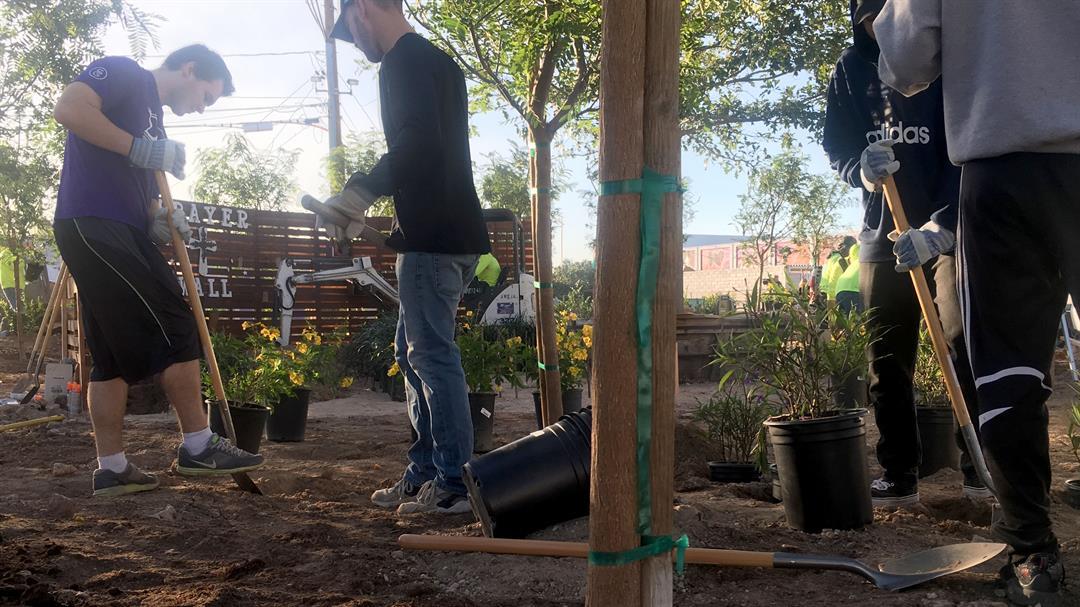 A healing garden will open in downtown Las Vegas on Oct. 6, 2017. (Mike Doria/FOX5)