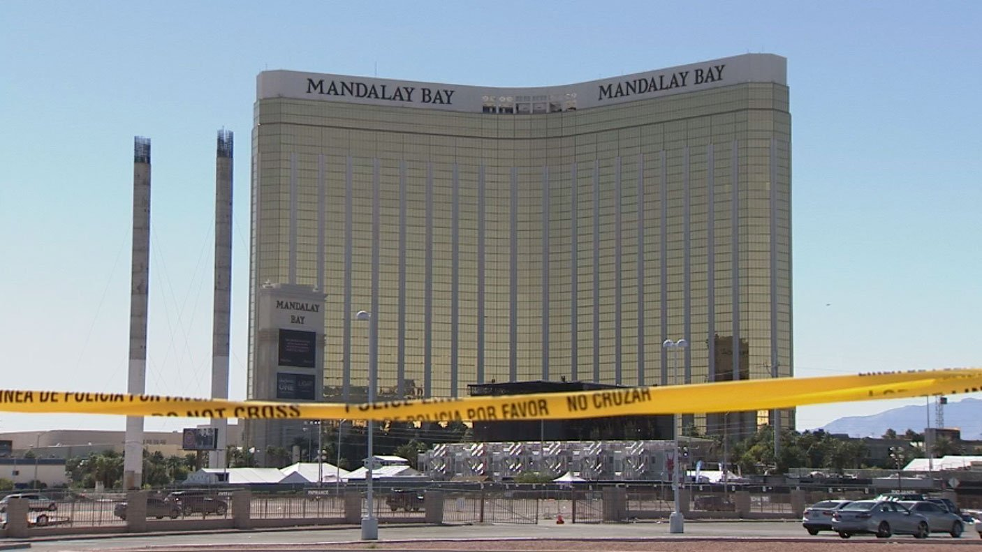 Crime tape is shown in front of the Mandalay Bay. (FOX5)