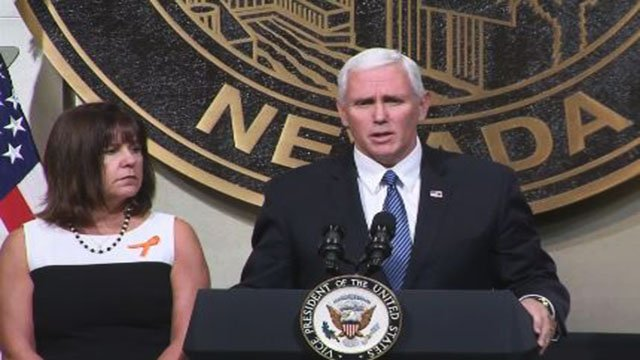 Vice President Mike Pence speaks at a unity event in Las Vegas on Oct. 7, 2017. (Jason Westerhaus/FOX5)