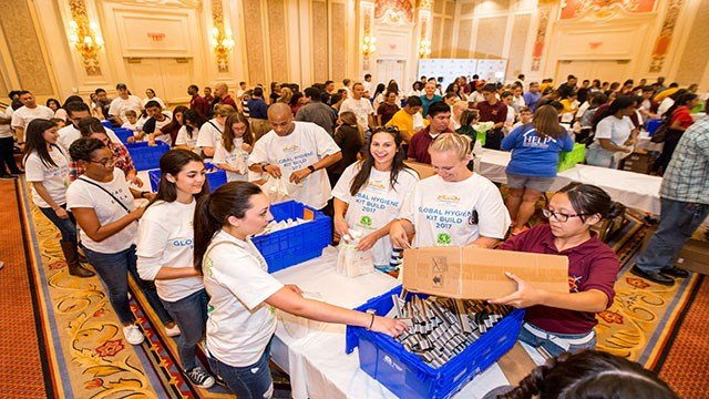More than 750 volunteers took part in The Venetian's annual event to build 35,000 hygiene kits for Clean the World.  All kits built will stay in Southern Nevada to aid the homeless (Clean the World).