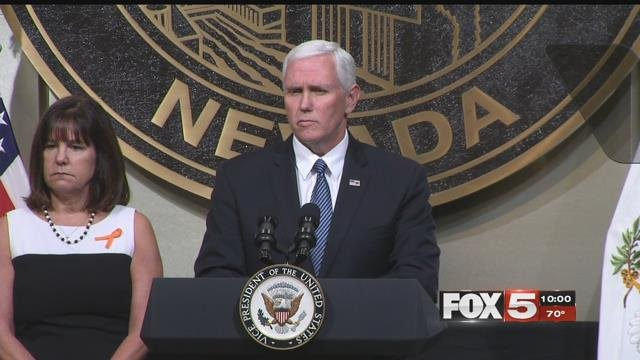 Vice President Mike Pence addresses a crowd during his Las Vegas visit (FOX5).