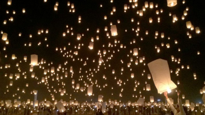 Lanterns light up the sky in Overton during the Rise Lantern Festival. (Mike Doria/FOX5)