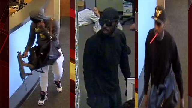 LVMPD released the above surveillance stills of the armed robbery suspects (LVMPD).