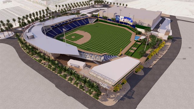 A rendering shows an angle of the the Las Vegas Ballpark.
