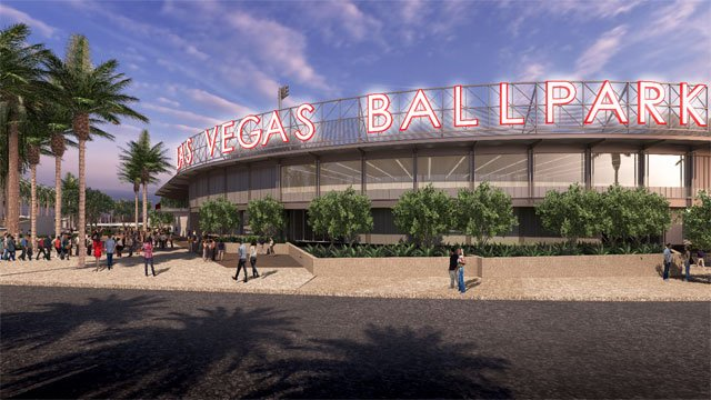 A rendering shows the exterior of the Las Vegas Ballpark.