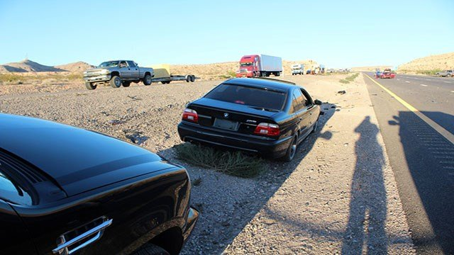 The BMW involved in the road range crash (NHP).