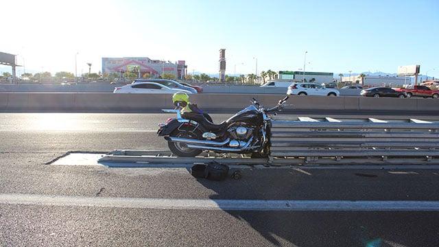 Fernando Ramos  crashed his Kawasaki motorcycle into the crash cushion (NHP).