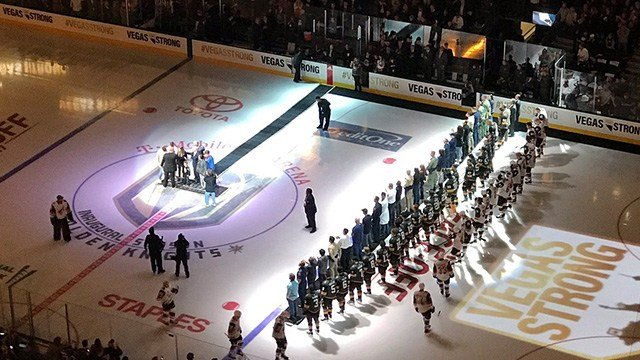 The Golden Knights honored first responders and victims before the inaugural home opener.