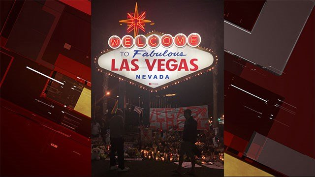 The 'Welcome to Fabulous Las Vegas' sign has turned into a touching tribute site to honor the 58 victims of 1 October (FOX5).