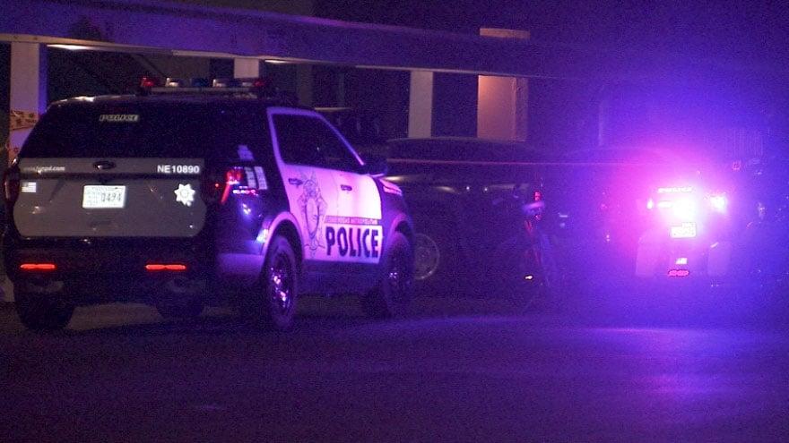 Las Vegas Metro police investigate a hit-and0run crash on Oct. 15, 2017. (Luis Marquez/FOX5)