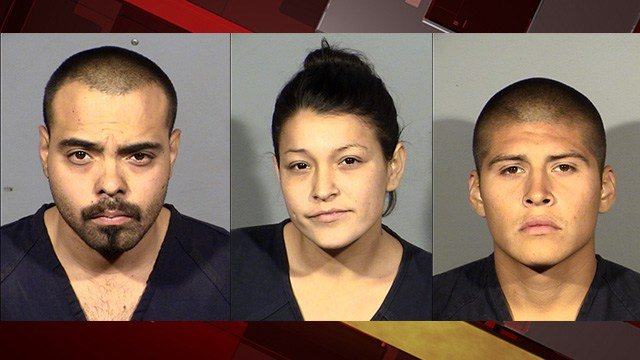 Jose Franco, Dorie Henley and Andrew Henley (left to right) were arrested for murder on Oct. 15, 2017. (LVMPD)