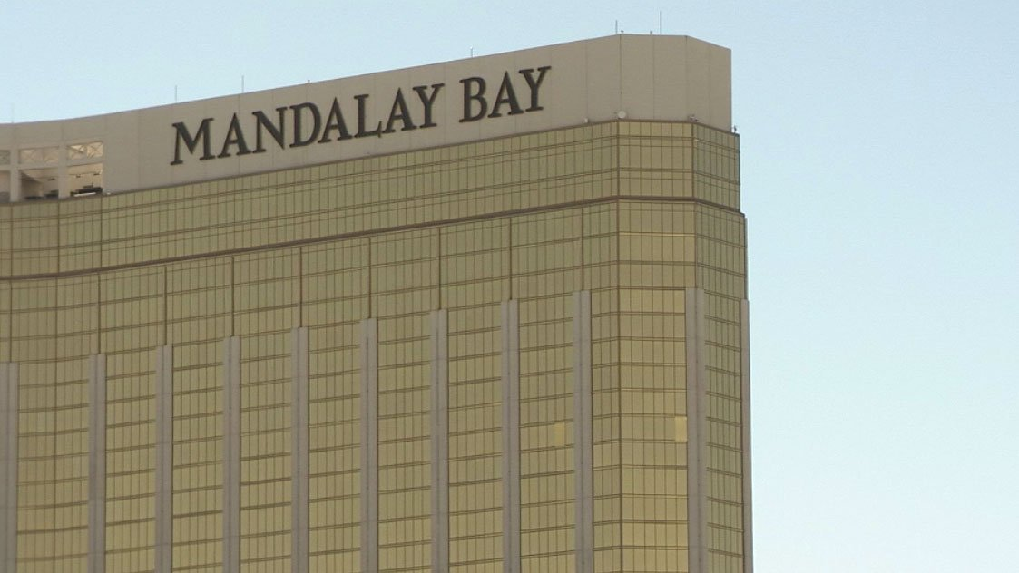 Windows boarded up at the Mandalay Bay after a deadly shooting. (FOX5)