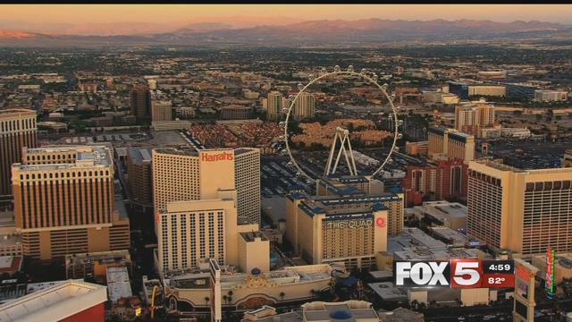 The sun sets over the Las Vegas Strip (FOX5).