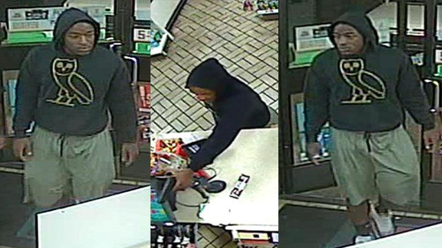 Metro Police said they're looking for a man who robbed a convenience store at gunpoint on Rainbow Boulevard near Smoke Ranch Road Sunday. (LVMPD)