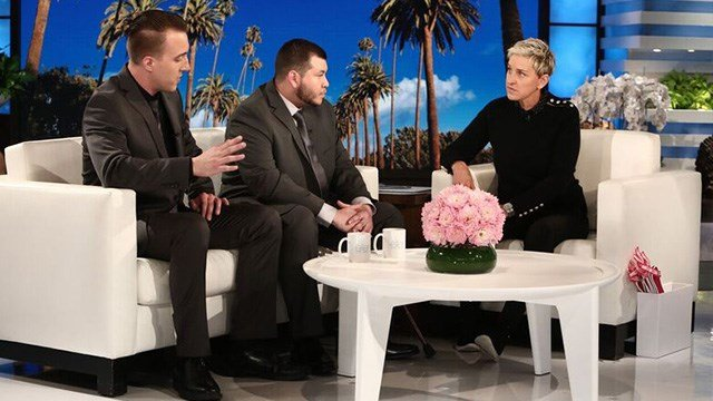 Jesús Campos, the Mandalay Bay security guard who was shot in the leg by Stephen Paddock and then notified others of Paddock's location, spoke publicly for the first time, in an interview on The Ellen DeGeneres Show. (Michael Rozman/Warner Bros.)