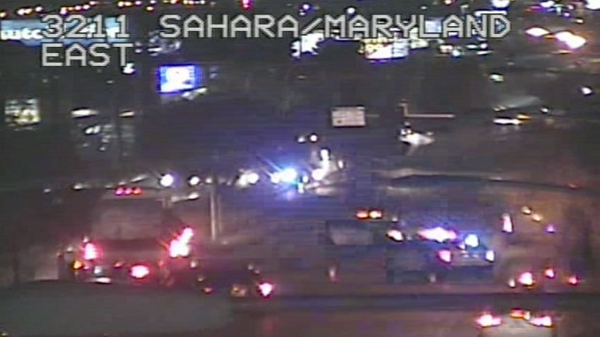 Police investigate a critical injury crash near Sahara Avenue and Maryland Parkway on Oct. 18, 2017. (Source: LVACS)