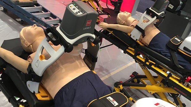 Advanced CPR equipment on display at the EMS Expo in Las Vegas on Oct. 18, 2017. (Peter Dawson/FOX5)