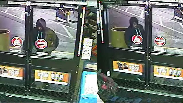 Surveillance stills show the suspect entering a business (LVMPD).