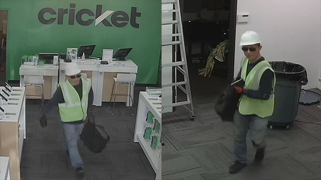 Robbery suspect pictured here in surveillance images at a Cricket Wireless store on Oct. 10, 2017. (Henderson Police Department)