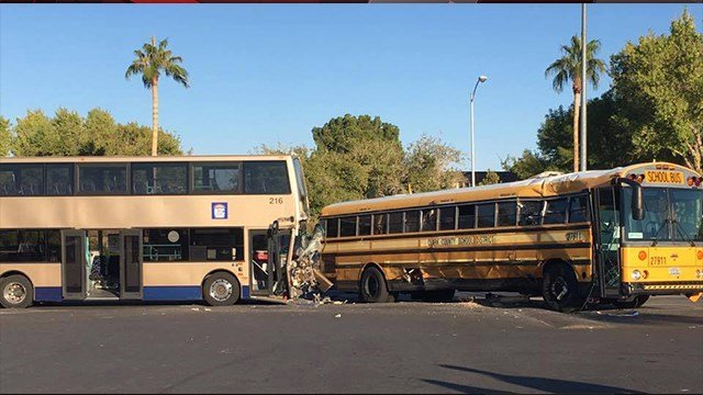 RTC bus hits CCSD school bus at Valley HS