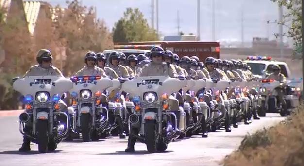 Police motorcade leading the procession for fallen Metro Officer Charleston Hartfield. Oct. 20, 2017 (FOX5)