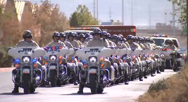 Police motorcade leading the procession for fallen Metro Officer Charleston Hartfield. Oct. 20, 2017 (FOX5)
