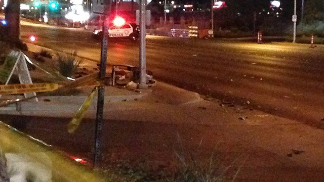 A pedestrian was critically injured in a crash at Desert Inn and Pecos - McLeod Friday night. (Roger Bryner / FOX5)
