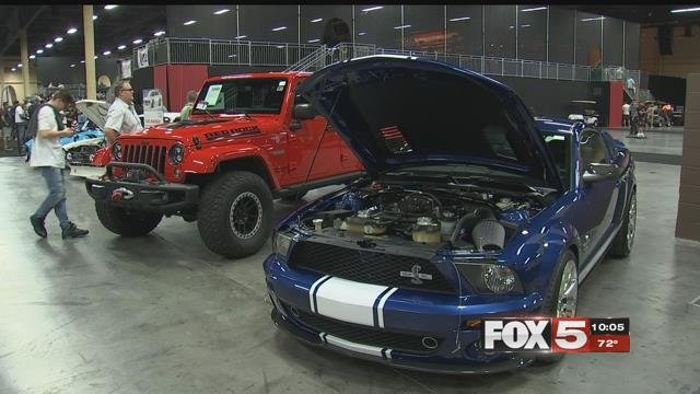 Nearly three weeks after the 1 October shooting, the Barrett-Jackson car auction returned to the Mandalay Bay Events Center for its tenth year. (Kurt Rempe / FOX5)