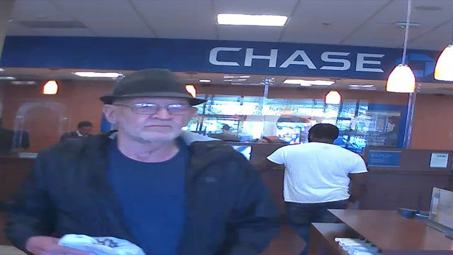 A surveillance still shows the elderly suspect at a northwest Valley bank (LVMPD).