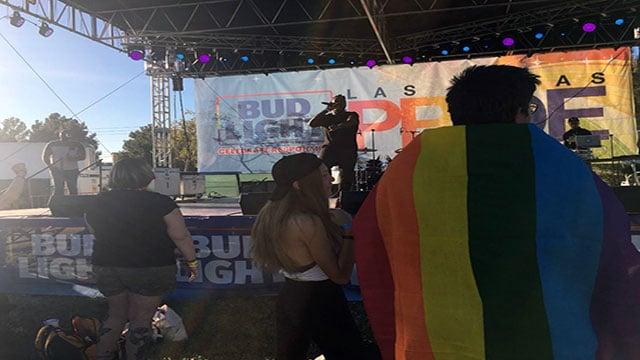 Las Vegas Pride festival attendees enjoy a performance Oct. 22, 2017 (Cherney Amhara / FOX5).