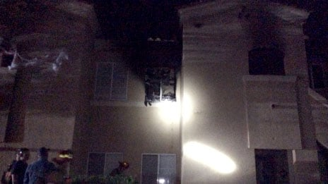 A fire off Vegas Drive damaged a Las Vegas apartment on Oct. 23, 2017. (Source: LVFR)