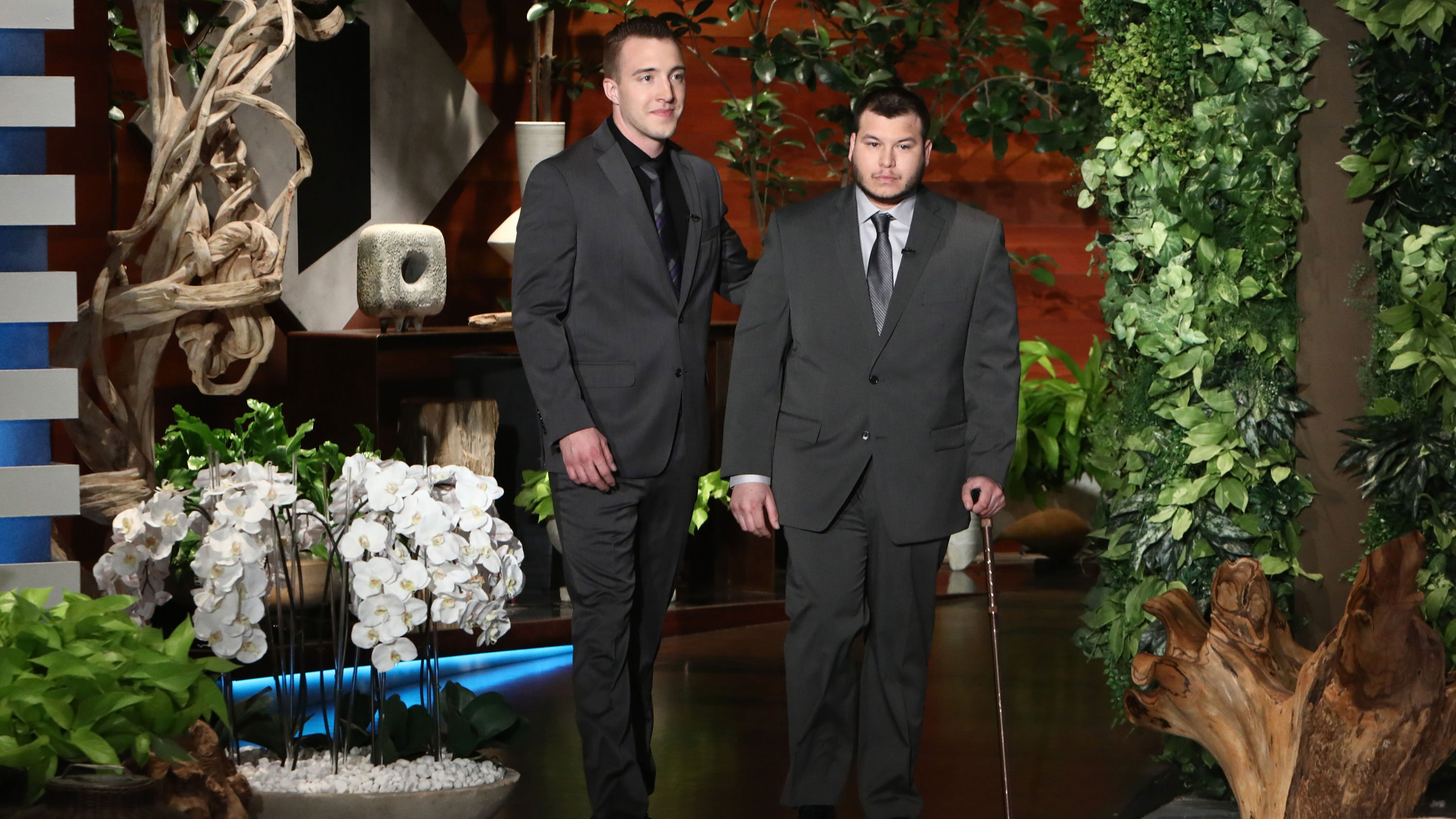Mandalay Bay engineer Stephen Schuck (left) and security guard Jesus Campos (right) appear on The Ellen DeGeneres Show. (Mike Rozman/Warner Bros.)