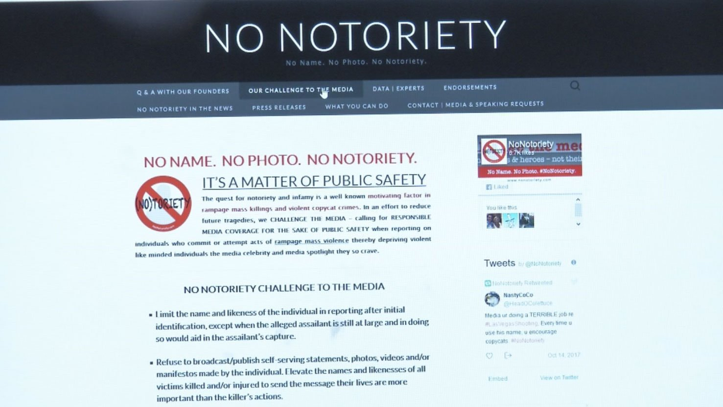 "The website for ""No Notoriety."""