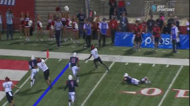 Screenshot of a UNLV scoring play Saturday night against Fresno State on Oct. 28, 2017. (FOX5)