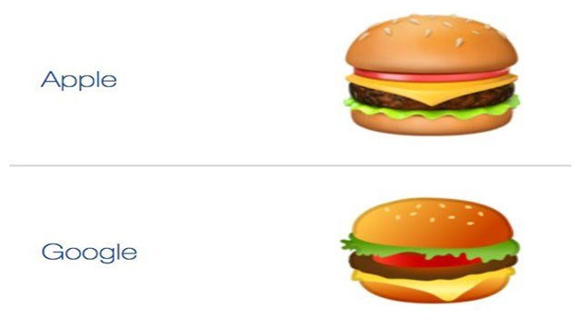 The two cheeseburger emoji's are causing a debate about topping (Google).