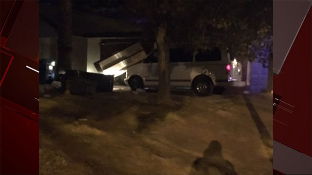 Picture of the scene of a suspected DUI crash in a Las Vegas neighborhood on Oct. 31, 2017. (Austin Turner/FOX5).