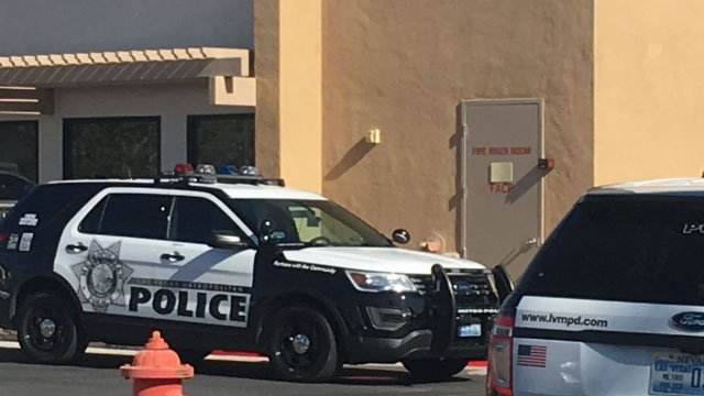 Metro police cruiser outside of center where a murder-suicide occurred in NW Las Vegas on Nov. 1, 2017. (Kathleen Jacob/FOX5)