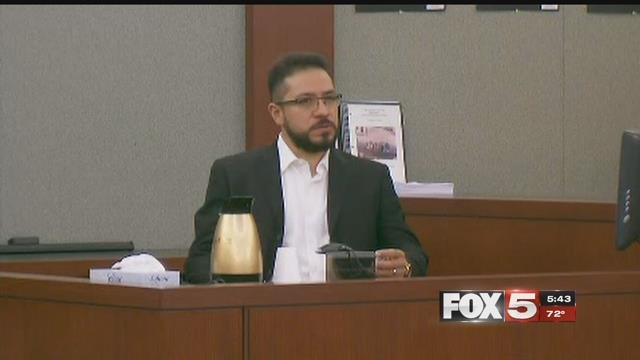 Arturo Martinez-Sanchez, whose wife and daughter were raped and killed, sits across from suspect Bryan Clay. (FOX5)