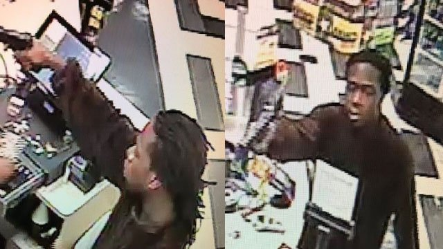 Surveillance images of suspect wanted in connection with a store robbery. (Courtesy: LVMPD)